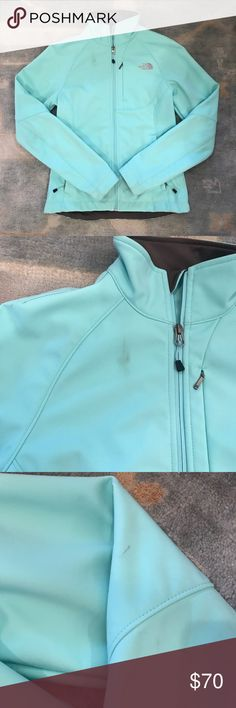 aqua north face jacket great condition - spots can likely be removed - just afraid to machine wash this. Worn once The North Face Jackets & Coats