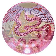 Serpent Island triple-lustre dish by William de Morgan, painted by Charles Passenger, 1890