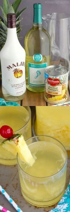 Pina Colada Sangria - would switch up the wine Party Drinks Alcohol, Fancy Drinks, Yummy Drinks, Alcoholic Drinks, Sangria Drink, Smoothie Drinks, Cocktail Drinks, Smoothies, Happy Drink