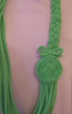Jersey Spring Green Braided Skinny Scarf with by sugarplumcottage, $26.00