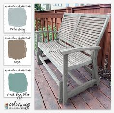Annie sloan Chalk Paint works well on outdoor furniture.  Hose clean and let dry.  Use 2 coats of Paris Grey with a small amount of Coco mixed in to warm up the color.  Finish up with touches of Duck Egg Blue added here and there.  No wax or polyurethane was used to seal it.