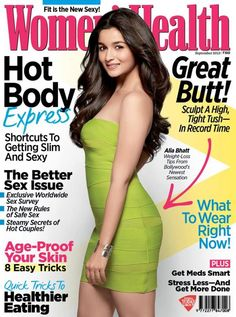 Bollywood's latest sensation Alia Bhatt on the cover of Womens Health