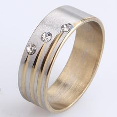 7mm gold three crystal 316L Stainless Steel finger rings for men  women wholesale
