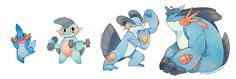 mudkip, marshtomp, swampert y mega swampert Mega Swampert, Mudkip, My Pokemon, Old And New, Disney Characters, Fictional Characters, Drawings, Nintendo, Art