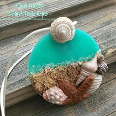 Beach, Ocean, Seashells, Starfish, Aqua, Tropical, Polymer Clay, Pendant, Hand-Made