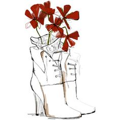 White Boots with red flowers growing outta them. :)