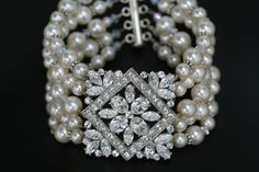 Five strand bridal swarovski pearl and crystal cuff bracelet-love!   # Pin++ for Pinterest #
