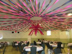 Center is a hula hoop...fish wire to attach to ceiling.....instead of streamer use Tulle or satin
