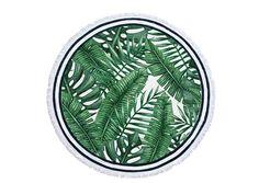 Serviette de plage ronde imprimés tropicales avec des franges blanches 162 cm de diamètre et 100% cotton. Invitation au voyage et à la détente, cette superbe serviette ne manquera pas d'attirer tous les regards.