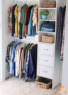 How to Build a Closet to Give You More Storage. 2 rods in our small closet for extra hanging space! Build A Closet, Kid Closet, Closet Bedroom, Master Closet, Closet Space, Home Bedroom, Shared Closet, Attic Closet, Master Bedrooms