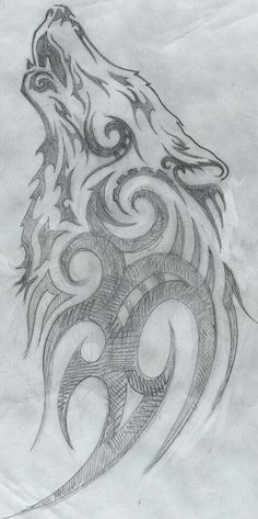 Wolf tribal drawing :) :)                                                                                                                                                      More