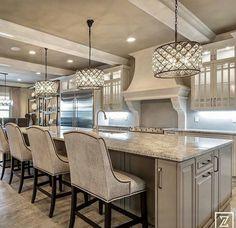 I like the cabinet in the grey island kitchen Elegant Kitchens, Luxury Kitchens, Beautiful Kitchens, Home Kitchens, Dream Kitchens, Home Decor Kitchen, Kitchen Interior, Kitchen Design, Kitchen Ideas