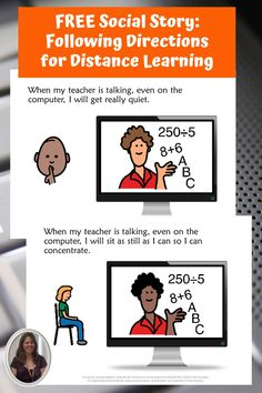 Following directions while distance learning is especially challenging for students in special education heading back to school. Download this free social story to help teach the basics of how to pay attention when your teacher is on the computer. Includes a movie you can show on a google slide or send in google classroom. #specialneedsforspecialkids #specialeducation #specialed #followingdirections #backtoschool #socialstory #distancelearning