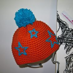 urtyp pink bommel bommelmütze orange handmade crochet beanie pinkbommel handemade unikat