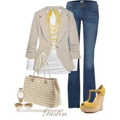 Tan and yellow...love the blazer. - Click image to find more Women's Fashion Pinterest pins