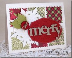 A reminder to use my square scallop punch or postage stamp punch for a background.  Christmas colours on white always look festive and clean