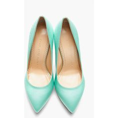 CHARLOTTE OLYMPIA Mint Satin Heart Debonaire Court Pumps