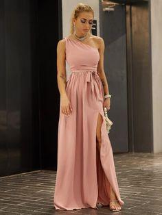 15% extra de dto. en tu primer pedido + Novedades diarias.Pulsa para ver los detalles de Joyfunear vestido de muslo con abertura con cinturón de hombros girantes. Compra tus favoritos y entérate de toda la infromación. Azazie Dresses, Blush Dresses, Bridesmaid Dresses, Belted Shirt Dress, Tee Dress, Vestidos Color Rosa, Thing 1, Dress Out, Glamour