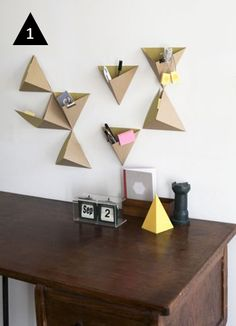 Love these DIY Triangle wall boxes  #geometric #crafts