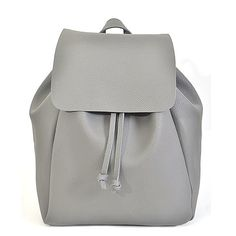 Simple and classic faux leather backpack with adjustable straps in back.  Drawstring and flap closure. Inside has a soft faux suede texture. fca7744cd7078