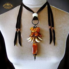 Carnelian Coyote Teeth Tribal Amulet Necklace by SpinningCastle