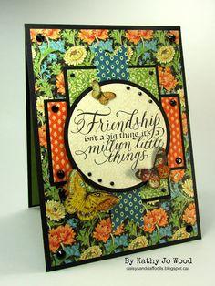 Graphic 45 Artisan Friendship card using Quietfire's Friendship stamp