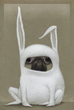 This delightful bunny pug is the work of awesome artist and illustrator Bill Carman (previously featured here). The Easter Bunny is great, but we believe he works in tandem with the the Easter Pug. He makes the cutest snorfling sounds while hiding Easter eggs. Sure, your basket of candy might have a little drool on it, but look at that snaggletoothed face![via Bill Carman]