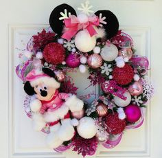 Pink Minnie Mouse Christmas Wreath by SparkleForYourCastle on Etsy, $139.00