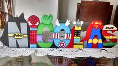 LETREROS Superhero Birthday Party, 4th Birthday, Birthday Parties, Diy Letters, Wooden Letters, Name Decorations, First Birthdays, Party Themes, Baby Shower