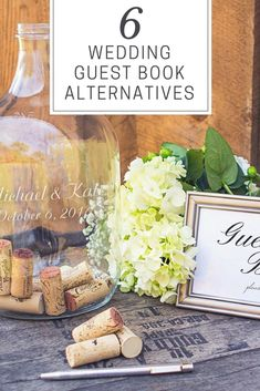 6 Wedding guest book alternatives that break the mold of traditional guest signature books. Gifts For Wedding Party, Diy Wedding, Bridal Parties, Wedding Stuff, Wedding Reception Decorations, Table Decorations, Signature Book, Guest Book Table, Guest Books