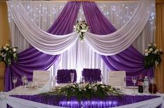 white Wedding backdrop with grape purple swags 10 ft Tall x … – Wedding Suite Wedding Stage Decorations, Backdrop Decorations, Backdrop Wedding, Backdrop Ideas, Wedding Table, Wedding Reception, Wedding Columns, Wedding Suite, Wedding Dress