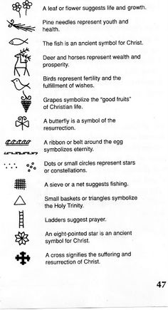 Christian symbols of Easter. I'm hopefully getting a tiny tattoo of one of these! either the flower, bird, grapes, or ladder.