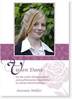 Dankeskarte zur Konfirmation - Danke - Röschen - Lila