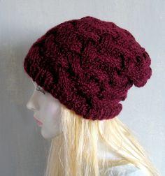 Knit Hat  Chunky Knit  Womens Hat  Beanie  Knit Beret