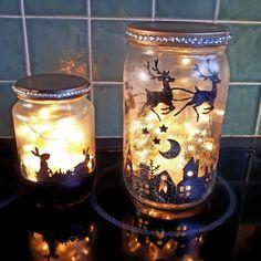Handmade luminary jars.