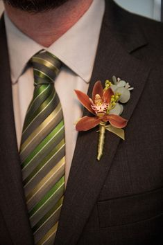 Christopher Flowers, Barbie Hull Photography - Bronze cymbidium orchid boutonniere