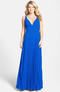 Love this in yellow! Laundry by Shelli Segal Open Back Pleated Chiffon Gown available at #Nordstrom