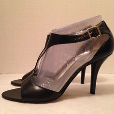 "Nine West Heels Beautiful black leather heels.  Open toe t-strap adjustable ankle strap.  4"" heels.  In good condition.  Bundle and save, no trades.  Please use offer to negotiate Nine West Shoes Heels"