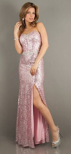 Pink Sequin Prom Dress