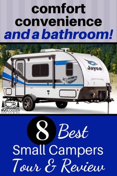 Take this small camper tour where we show you a variety of small camper designs with bathroom and a shower. Some are shower toilet combo (wet bath). Small camper living comes in many styles such as teardrop, hybrid and Lance campers. Small Camper Trailers, Small Camping Trailer, Small Campers, Hybrid Camper, Lance Campers, Airstream Basecamp, Rent Rv, Rv Show, Camping For Beginners