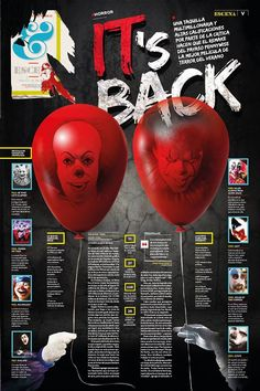 """This is a story about the recreation of """"It"""". """"It's Back"""" is the perfect headline. Editorial Design Magazine, Magazine Layout Design, Editorial Layout, Newspaper Layout, Newspaper Design, Indesign Templates, Adobe Indesign, Page Design, News Design"""
