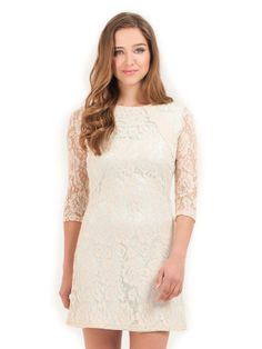 Little Mistress Blue & Cream-Coloured Lace Shift Dress