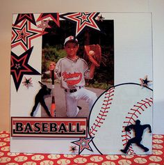 DT member, Robin Gibson used the silhouettes, the stars and the BASEBALL sticker from the release and combined them with the Signature Series Baseball paper to. Paper Bag Scrapbook, Baby Scrapbook, Scrapbook Cards, Scrapbook Titles, Scrapbook Templates, Baseball Scrapbook, Scrapbooking 101, Scrapbook Layout Sketches, Kids Pages