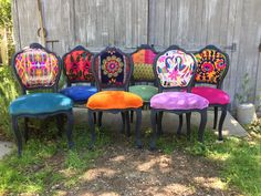 Eclectic Boho Dining Chairs by ChairWhimsy on Etsy https://www.etsy.com/listing/526144161/eclectic-boho-dining-chairs