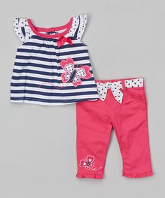 Another great find on #zulily! Navy Stripe Butterfly Top & Pink Pants - Girls by Nannette Girl #zulilyfinds