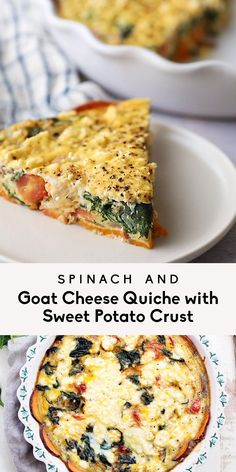 Spinach and goat cheese quiche made with a scrumptious sweet potato crust to keep it gluten & grain free and filled with nutrients. This easy, low carb sweet potato crust quiche is perfect for customi Gluten Free Recipes, Low Carb Recipes, Vegetarian Recipes, Cooking Recipes, Healthy Recipes, Recipes With Eggplant Healthy, Lactose Free Quiche Recipes, Gluten Free Quiche, Spelt Recipes