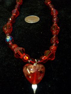 Red Crystal Necklace with Cut Czech Glass Silver by Dare2beUNIQUE
