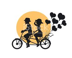 silhouette of romantic cheerful couple riding tandem bike with heart shaped balloons - Buy this stock vector and explore similar vectors at Adobe Stock Bike Silhouette, Bike Couple, Bike Illustration, Couple Painting, Tandem, Free Vector Art, Royalty Free Images, Heart Shapes, Balloons