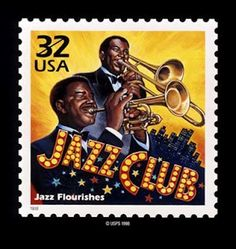 Jazz with trumpet US postage stamp