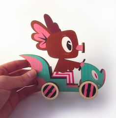 """Vroom Vroom! Gary Ham X Ink It Labs: The Hermees Roadster maple wood push toy is limited to 50 pieces. L-5 1/2""""W-2 1/8""""H-5"""""""